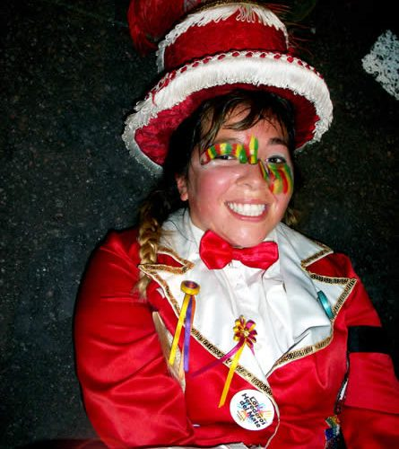 Murga dancer after performing in Buenos Aires