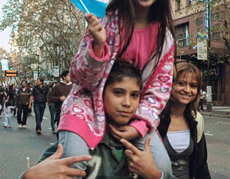 Girl waves Argentine flag on Independence Day