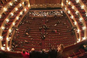 A view of teh stage at the Colón Theater from the upper balcony seats