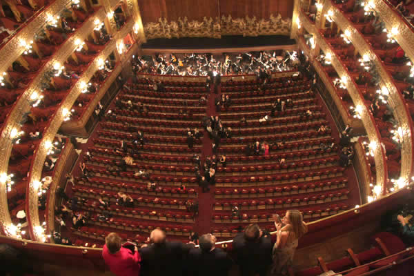 A view of the stage at the Colón Theater from the upper balcony seats