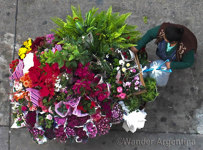 Bird's-eye view of a woman selling flowers from a cart