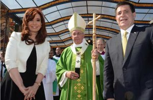 Argentine President Cristina Kirchner, Pope Francis and Ecuador's President Horacio Cartes on the Pope's first Papal visit to Latin America