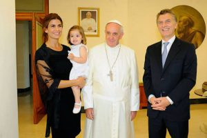 Pope Francis with Argentina's President Mauricio Macri and his family