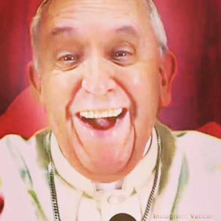 A picture of smiling Pope Francis from the unofficial Instagram account @Vatican_