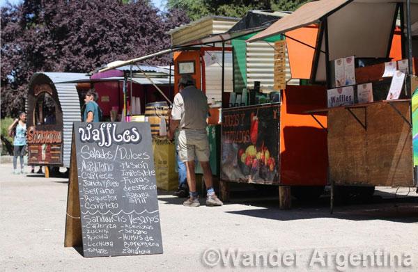 Stalls at the El Bolsón Regional Fair in Patagonia