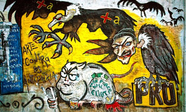 Anti-Mauricio Macri and foreign debt 'vulture' graffiti on the streets of Buenos Aires