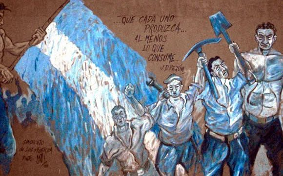 Graffiti in Buenos Aires depicting workers in favor of workers rights