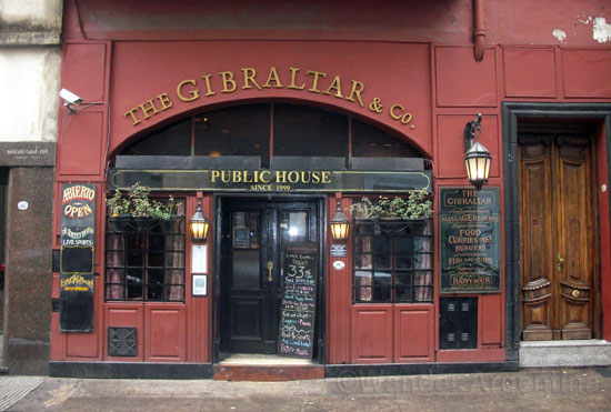 The outside of Gibraltar English pub during the daytime in San Telmo, Buenos Aires.