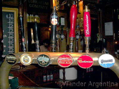 A picture of the beers on tap at Gibraltar British pub in San Telmo, Buenos Aires