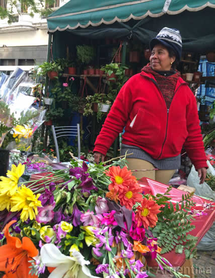 An outdoor flower seller in Buenos Aires, Argentina