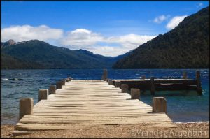 A wooden dock at Lago Hermoso, Patagonia Argentina