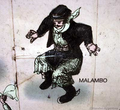 A depiction of Malambo, a traditional Argentine folk dance, performed only by men
