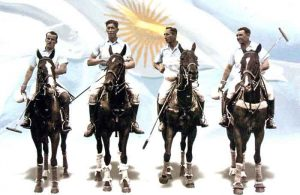The 1936 Argentina polo team with an Argentine flag in the background