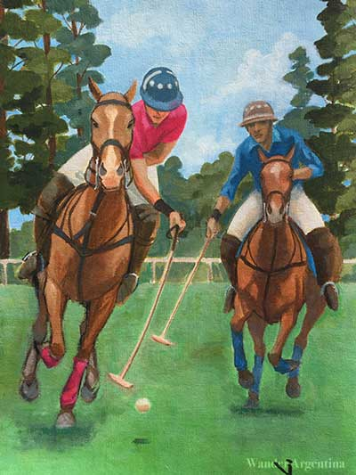 A painting of two men on horseback playing polo