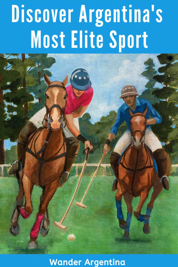 Painting of polo players. Polo is a very elite sport, popular in Argentina