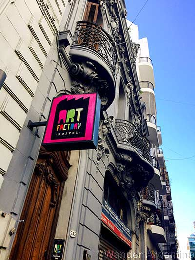The outside of the Art Factory Hostel in San Telmo, Buenos Aires