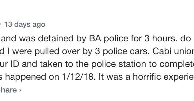 A user internet comment from about Uber in Buenos Aires in which a woman claims she was detained by police for using Uber in Buenos Aires.