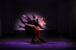 Tango dancers on stage at the Cafe de los Angelitos in Buenos Aires