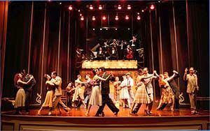 Tango dancers below a raised orchestra onstage at the Esquina Carlos Gardel Tango Show
