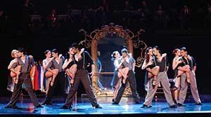 Dancers onstage at the La Porteña tango show in Buenos Aires