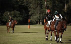 A man and a woman on horses with polo mallets in their hands