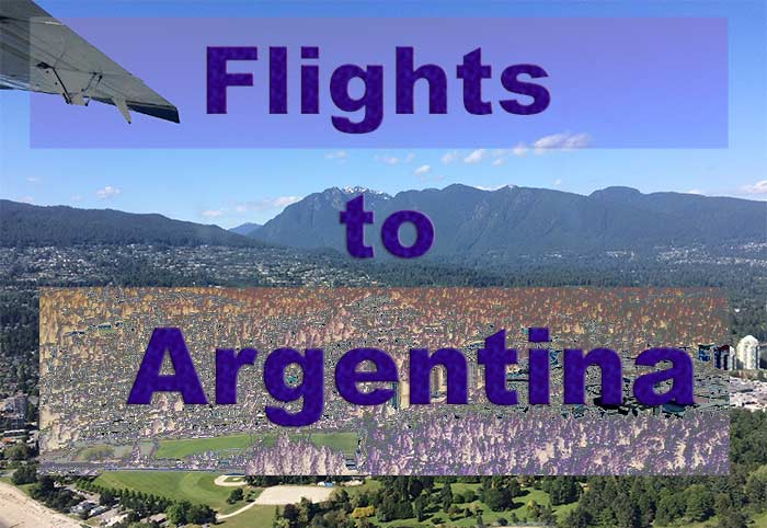 A picture of landscape taken an airplane with the words, 'Flights to Argentina.'