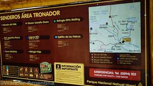 A government sign at La Pampa Linda service area that details the trails around the Mount Tronador area of Patagonia