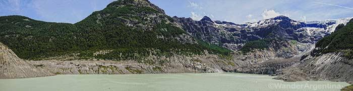 Ventisquero Negro or the Black Glacier, dark-colored glacier on Mount Tronador in Argentina's Patagonia