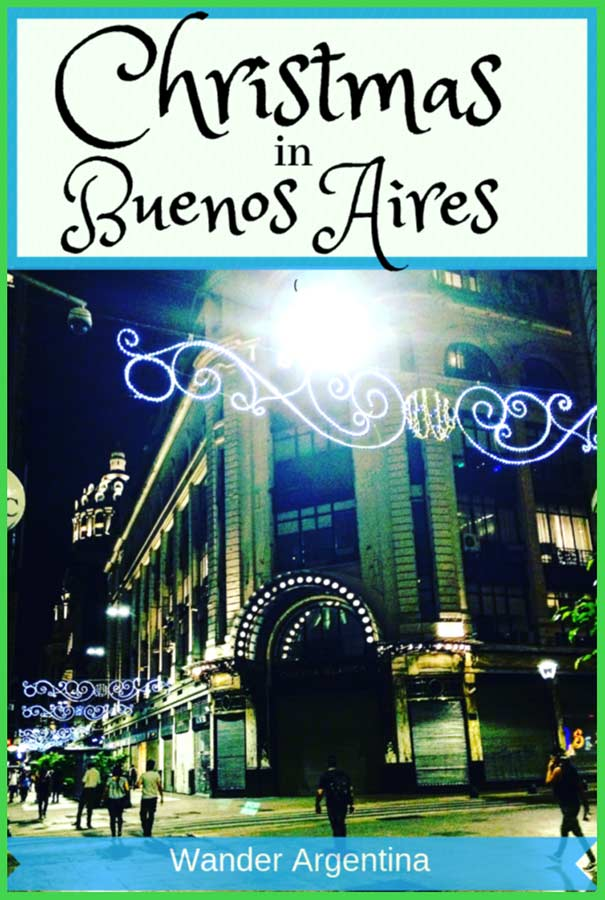 Buenos Aires Pedestrian Florida Street with lights during the Christmas Holiday Season