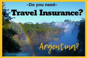 Do you need travel insurance for Argentina? Picture of Iguazu Falls with a rainbow.
