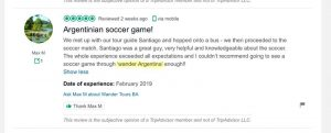 A screenshot of a five star review intended for Wander Argentina left on another businesses' Trip Advisor page.