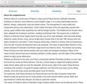 A description of Palermo Soho from Wander Argentina that appears on Trip Advisor