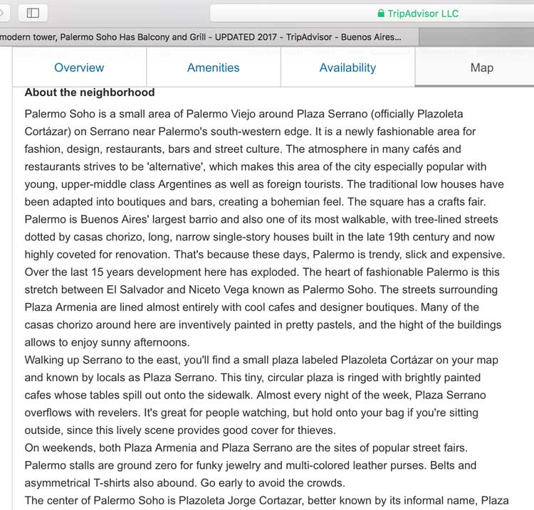 A screenshot of a description of Palermo Soho from Wander Argentina that appears on Trip Advisor