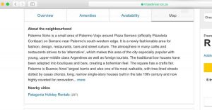 A screenshot of a description of Palermo Soho in BUenos Aires that was stolen from Wander Argentina and put on Trip Advisor by a user.