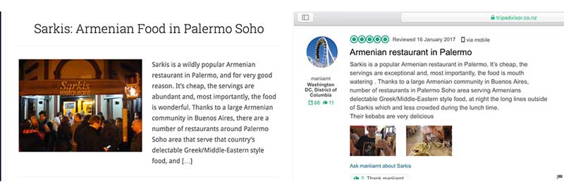 A screenshot of a review on Wander Argentina side by side with one on TripAdvisor that demonstrate Trip Advisor allows their users to copy and paste from competing website.