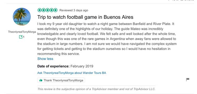 A screenshot of Trip Advisor which shows a review intended for Wander Argetina but left for a similarly named company