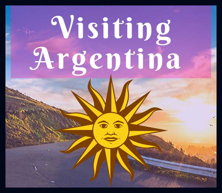Visiting Argentina: Sunset picture overlay with the Sol de Mayo, or May Son, emblem that appears on the Argentine national flag