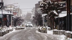 Bariloche's Mitre's street after a snowfall