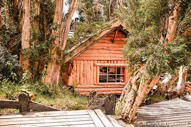 The all wood 'casita del bosque' (forest house) in Parque Nacional Los Arrayanes, seen on the Isla Victoria and Myrtle Forest Tour