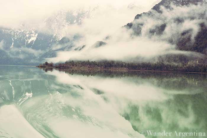 The green water of Lago Frías, a glacier-made lake in Patagonia's Nahuel Huapi National Park