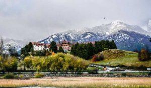Bariloche's typical snowy landscape and alpine architecture