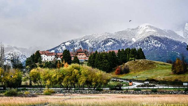 Bariloche's typical snowy landscape and alpine architecture