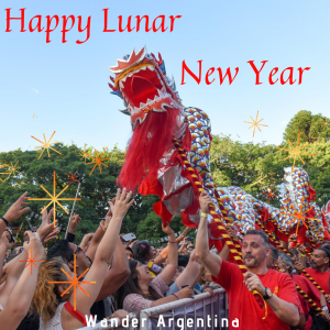 People do the dragon dance on Chinese New Year in Buenos Aires, Argentina