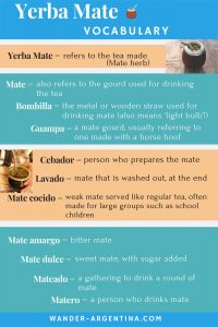 Yerba mate tea Spanish vocabulary list