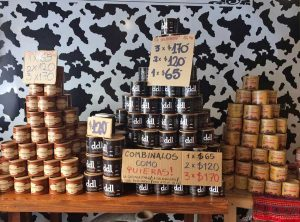 Dulce de leche piled into pyramids in a shop in Buenos Aires