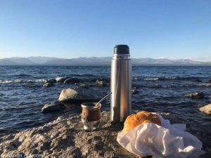 A mate for yerba mate and a snack on the beach in Patagonia, Argentina